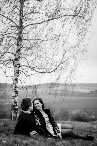 Brno couple portrait under the birch tree for engagement portrait