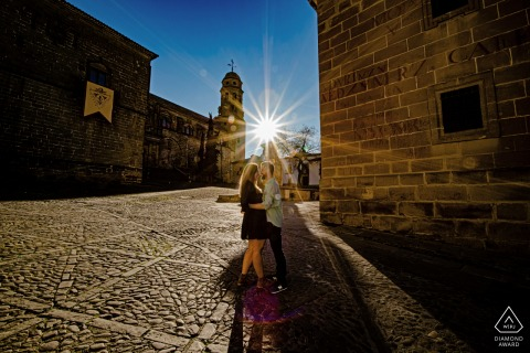 Baeza, Jaen Pre-Wedding Image of a Couple and the Sun Flare
