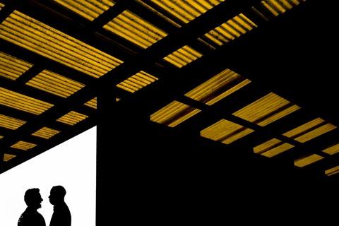 presidio silhouette portrait of a couple