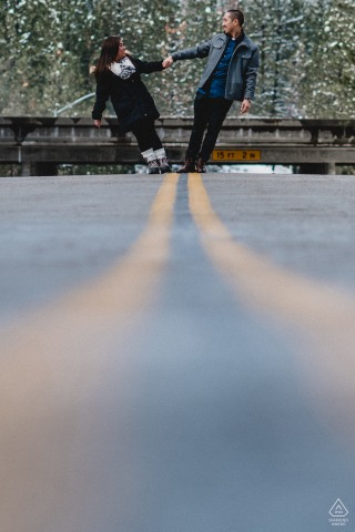 CARSON CITY CA | Couple holding hands standing in the road for engagement picture