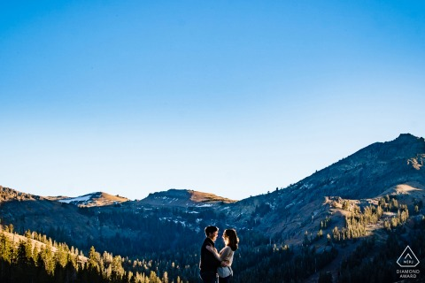 CARSON CITY ENGAGEMENT - Lit portrait with the sky and mountains
