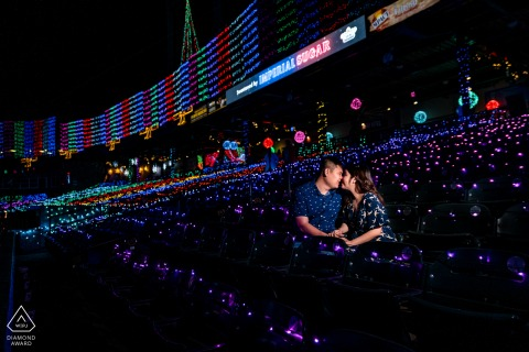 Sugarland, TX	Engaged Couple Portrait | OCF lit picture at night