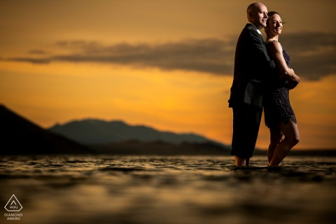 Bonneville Salt Flats sunset portrait of a couple for pre wedding image