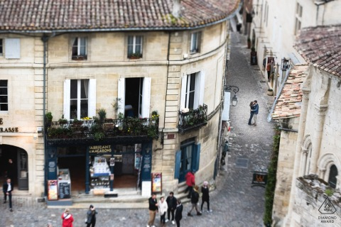 Saint-Emilion, France pre wedding shoot in the village from above