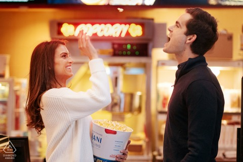 Manhattan Upper West Side Engagement Picture - They love popcorn. Before, during and after the movie night