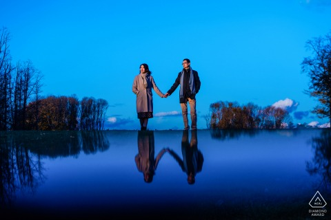 Castle Hill on the Crane Estate - Image of engaged couple with reflection