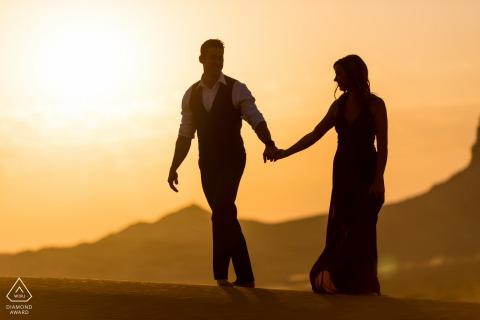 Fossil Rock engagement image from the Dubai Desert - Exploring the desert at sunset