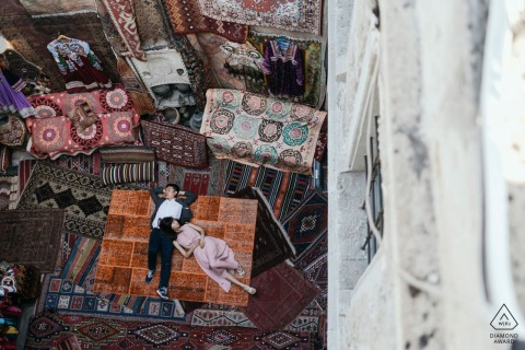 Cappadocia pre wedding image - Rest in the carpet shop!
