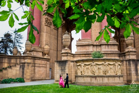 San Francisco engagement image - A walk in the Palace of Fine Arts