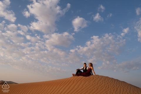 Desert Couple Portraits - Fossil Rock, Dubai Desert Pre Wedding Shot in the Sand