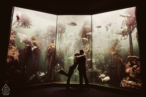 Engagement Picture Session at Two Oceans Aquarium, Cape Town - The couple got engaged in this exact spot in the Two Oceans aquarium, naturally we did a few fun poses to celebrate this spot.