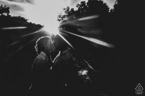 Engagement Photography | Majic Forest, Cape Town - As the sun was setting through the trees, I saw this beautiful sun beams and decided to do something creative with it.