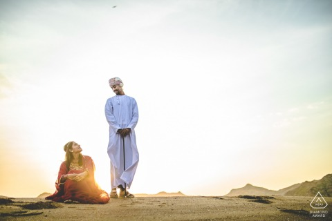 Engaged Couples Photographer | muscat couple in the sun