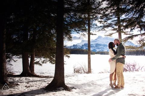 Engagement Photography Session at Two Jack Lake Banff National Park Alberta Canada - Snowy mountain engagement shoot.