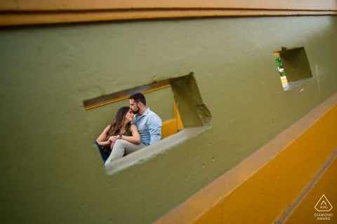 Engagement Photo Sessions | Lima, Peru couple on staircase
