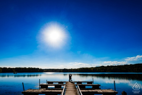 Engaged Couple Session | Silhouette of a couple at the Gifford Pinchot State Park lake