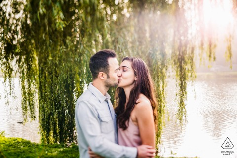 Engaged Couple Session | Under a weeping willow in the early morning - couple who will mary this year