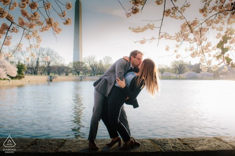 Engagement Picture Session from Washington DC - A couple enjoying time together during the Cherry Blossom by the Tidal Basin.
