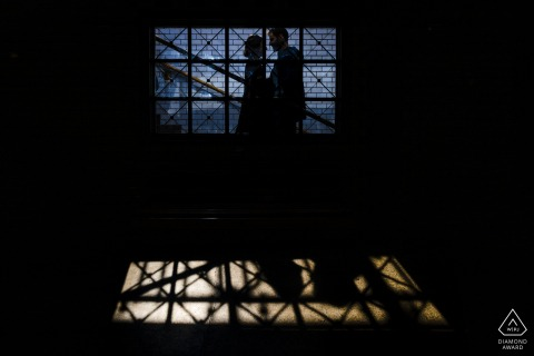 Engagement Photos | Budapest Hilton Hotel - couple standing in a railway station