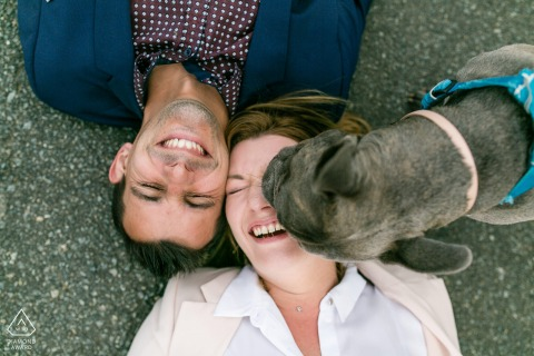 Engagement Photo Sessions | France country couple and a dog