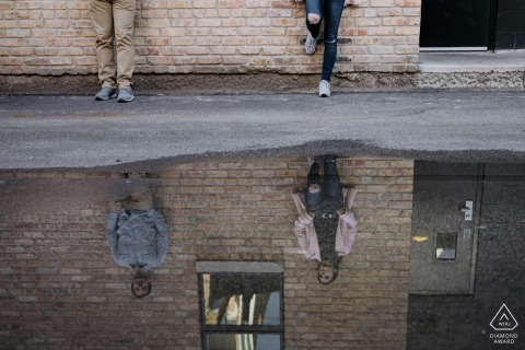Engagement Photography Session from Chicago - The reflection revealing the couple's face