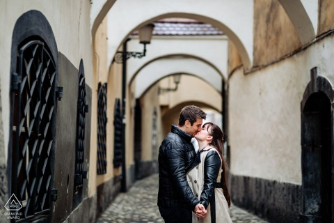 Engagement Picture Session at Ljubljana, Slovenia - Little kiss in the center of the city