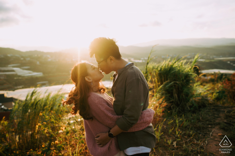 Engagement Photography | Da Lat, Vietnam Sun Kissing Couple