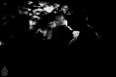 Engaged Couples Photography | Trieste, Italy Silhouette Lovers in Black and White