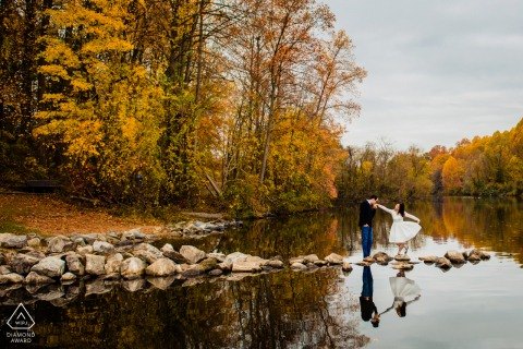 Columbia, Maryland Couple Engagement Photo | Fall colors with water and rocks