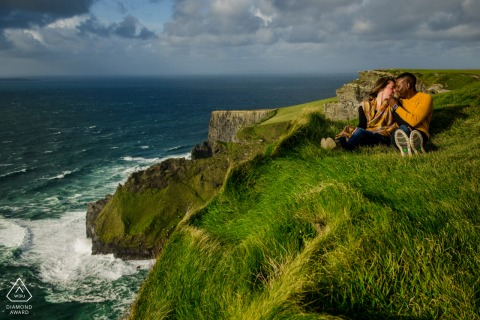 Cliffs of Mohr, Ireland Engagement Session with a Couple - Life on the edge