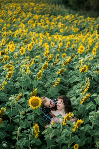 Harwood North Dakota engagement portrait session - A couple laughs together in a sunflower field.
