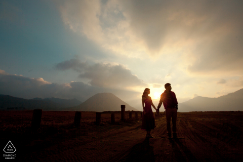 Prewedding portrait at Bromo Mount, Indonesia during sunset
