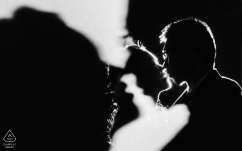 Fujian Fuzhou black and white couple engagement portrait