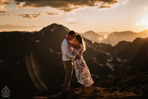 """Glencoe, Scotland engagement portrait photographer: """"In the amazing light at golden hour, we saw the chance to capture a moment at the cliffs edge."""""""