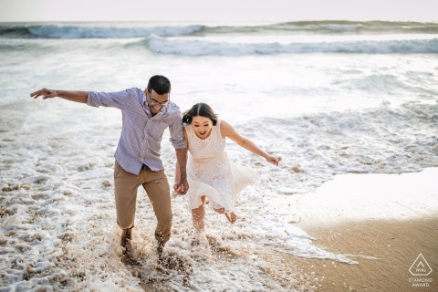 Half Moon Bay, California Rush Tides portrait for engaged couple