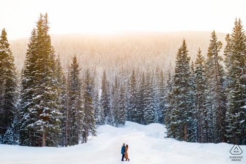 Keystone, CO engagement photo - Kiss of winter light