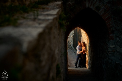 Brescia Castle, Italy couple portrait - May the light be always with you