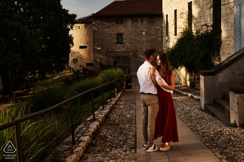 Ancient Castle in the north of Italy engagement portrait - Me, you and this awesome sunset.
