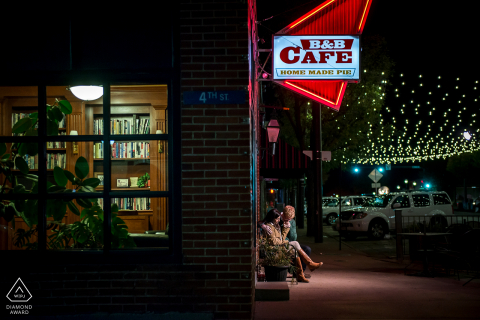A couple engagement shoot on Main Street in Castle Rock, CO