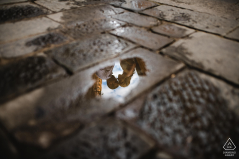 Engagement in Siena - Love to take reflections after a raining day.