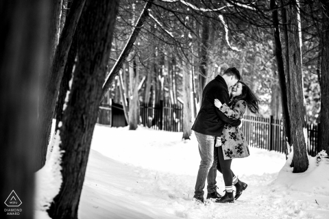 Winter Snow Engagement session in Elora, Ontario, Canada