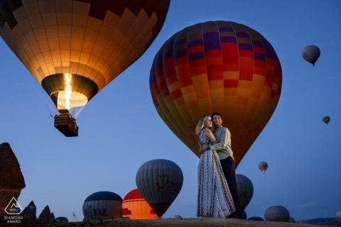 Montgolfière Cappadoce, séance photo de fiançailles en Turquie