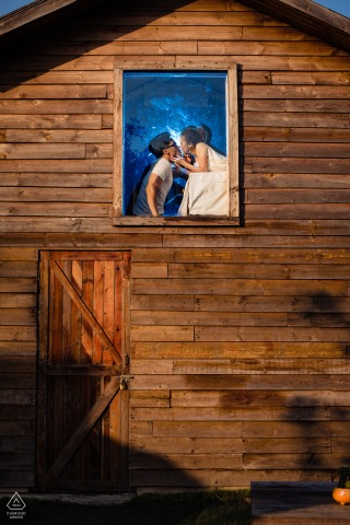 Vietnam pre-wedding portrait session in a barn window in Ho Chi Minh City