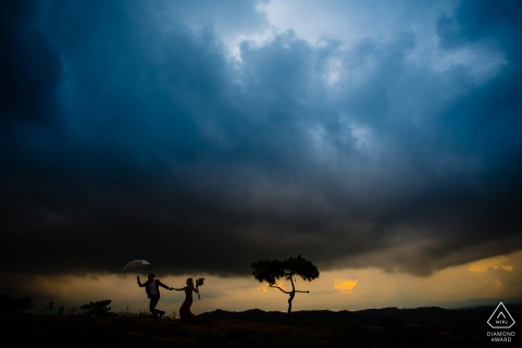 Vietnam Dalat dusk pre-wedding engagement session under the dark clouds