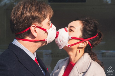 Beijing China covid-19 coronavirus face mask couple portrait during pre-wedding session