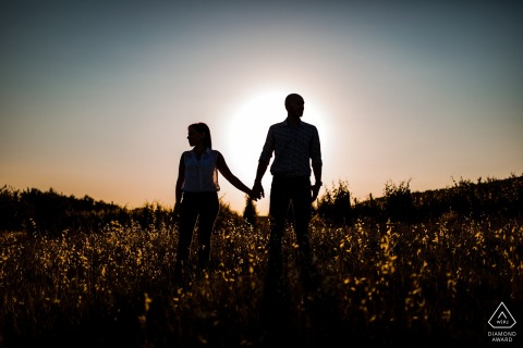 Slovenja engagement portrait session - Sunset silhouettes