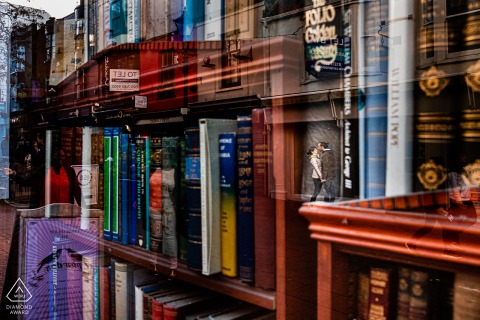 Brighton, UK engagement photographer   Book shop reflections of the couple