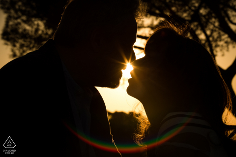 Madrid, Spain pre-wedding engagement shoot - Couple silhouettes with sunset and visual effect