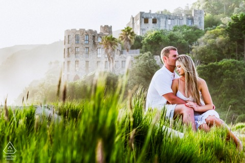 Knoetzie Beach, Knysna engagement portrait | The beach is known for the castle's and I used them in the background to give this photo that extra interest.