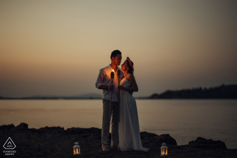 Pre-Wedding Photo from İzmir, Turkey by the sea with lanterns